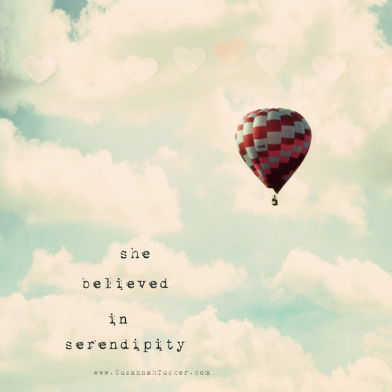 hot air balloon photo, kids wall art, typography wall art, hearts, nursery wall art, girls decor, whisical - She Believed In Serendipity