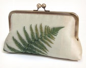 Clutch bag, silk purse, green fern, woodland wedding, bridesmaid gift