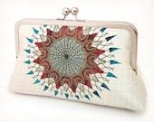 Clutch bag, printed silk purse, starburst, sun, bridesmaid purse, wedding bag, MANDALA
