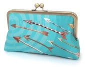 Clutch bag, silk purse, bridesmaid gift, gift box, BLUE ARROWS