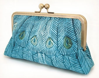 Clutch bag, peacock purse, teal wedding bag, bridesmaid gift, gift box, TEAL PEACOCK