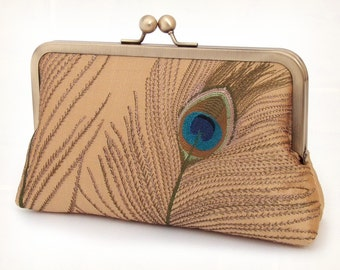 Clutch purse, silk bag, embroidered gold peacock feathers