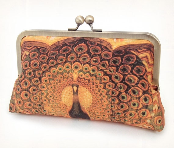 Clutch bag, silk purse, peacock wedding, gold, orange, brown, bridesmaid gift, PEACOCK PALACE