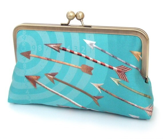 Clutch bag, silk purse, bridesmaid gift, gift box, BLUE ARROWS