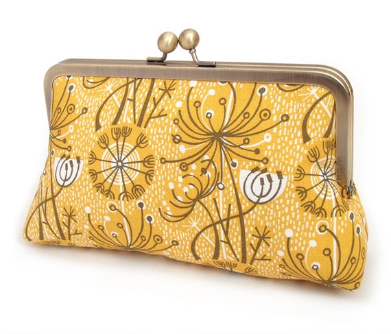 Yellow seedheads clutch bag, retro atomic print, silk-lined purse, bridesmaid gift, gift box