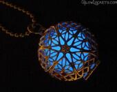 Blue Frost Mystic Glow Locket Silver Plated Filigree