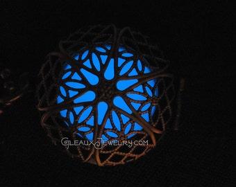 Blue Frost Glow in the Dark Antiqued Brass Filigree Locket