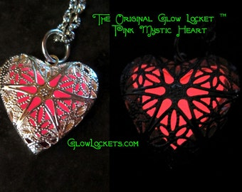 Pink Mystic Heart Glow Locket Glowing in the dark Silver