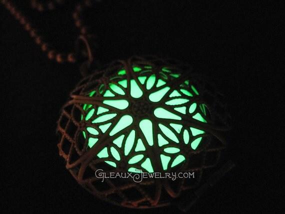 Green Glow in the Dark Antiqued Brass Filigree Locket