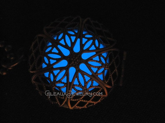 Blue Frost Glow in the Dark Antiqued Brass Filigree Locket