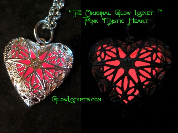 Steampunk Fairy Glow in the Dark Heart Locket Pink