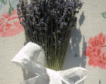 Flower Girl Bouquet Dried English Lavender Bouquet with Hand Tied White Cotton Crinoline Bow