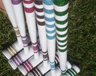 Custom Glittered Vintage Croquet Set