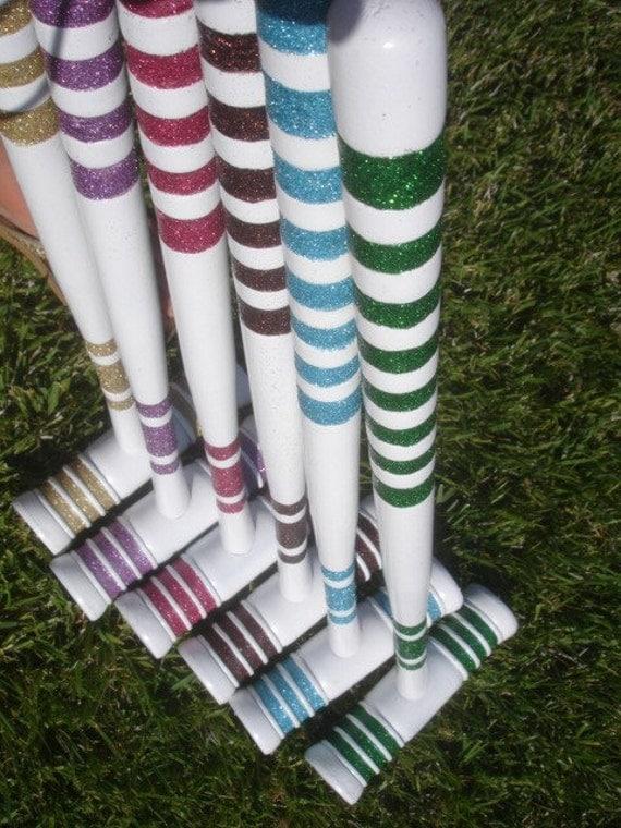 Custom Listing for Ashley:    Glittered Vintage Croquet Set