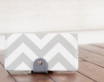 Handmade Wallet - BiFold Clutch Wallet  / Chevron in Storm Gray -- PREORDER