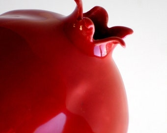 Porcelain Red Pomegranate Vase - Original - Made To Order