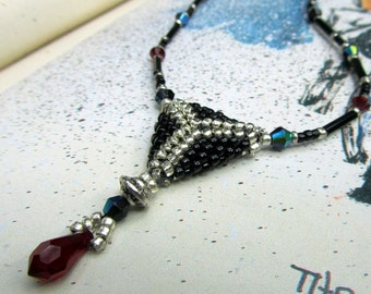 Black Beaded Necklace Silver & Red Crystal, Seed Bead Jewelry, Black Necklace