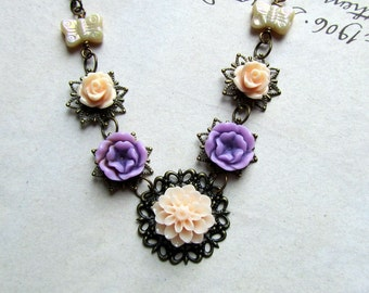 Bib Necklace,  Charm Necklace, Flowers Pink ,Purple, Ivory Butterfly, Vintage Jewelry