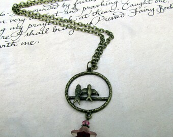 Love Bird Pendant Necklace with Pink Flower Charm