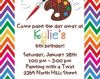 25 5x7 Arts and Crafts Birthday Party Invitations