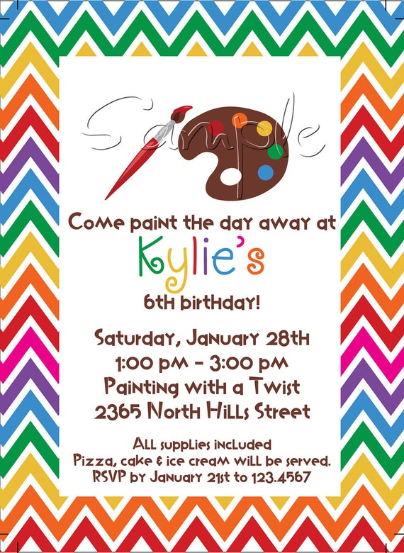 25 5x7 arts and crafts birthday party invitations for Arts and crafts party