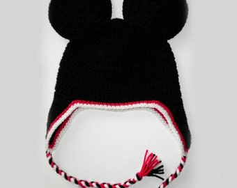 Custom crochet Mickey Mouse ears ear flap hat photo prop