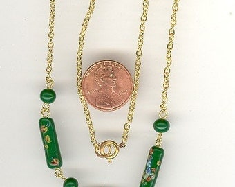 Vintage Made In Japan Jade Green Millefiori Glass Beaded 16 Inch Necklace.