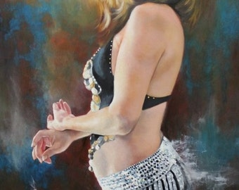 Bellydancer original oil portrait figurative narrative painting by Kimberly Dow