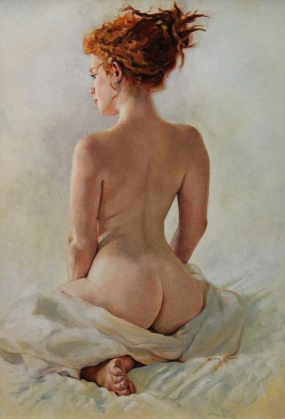 Sacrament' original figure oil portrait classical nude figurative portrait figure painting by Kimberly Dow