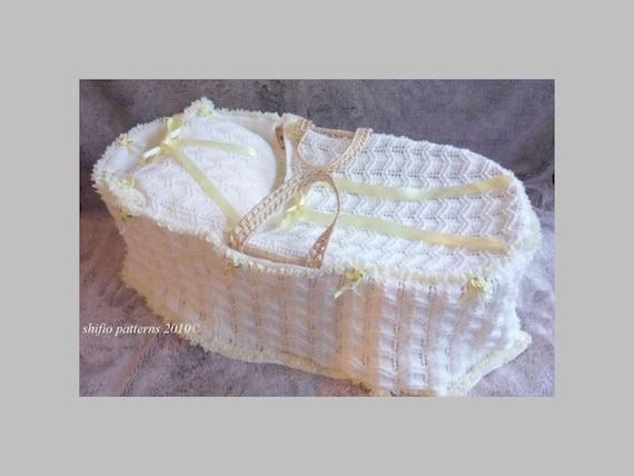Knitting Pattern Moses Basket Blanket : Baby Knitting Pattern Moses Basket Cover Blanket Pillow by shifio