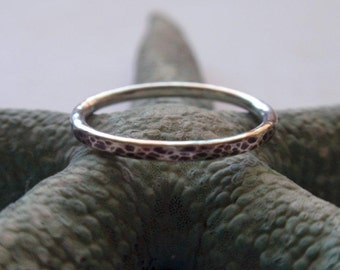 Silver Stacking Ring Oxidized and Hammered Sterling Silver Band