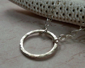 Small Sterling Silver Eternity Circle Necklace Sweet Hammered Hoop