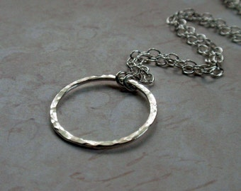 Silver Eternity Circle Hoop Necklace Sweet Hammered Sterling in a Large size