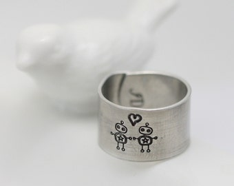 Robot Love - hand stamped aluminum adjustable ring