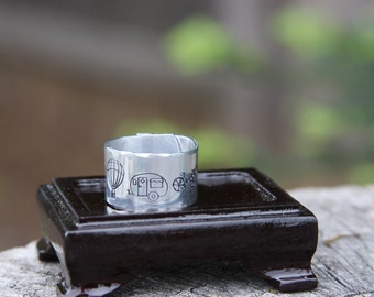 Oh the places you'll go - hand stamped aluminum adjustable band ring