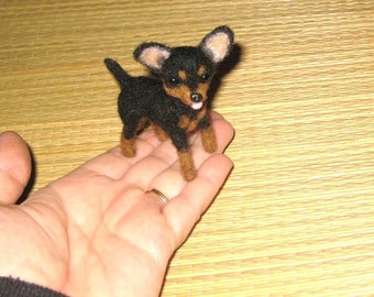 Needle Felted Dog / Custom Miniature Sculpture of your pet Cute example Chihuahua  small size