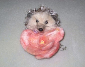 Needle Felted Hedgehog Sculpture by Fiber Artist Gerry / Cute Rosie