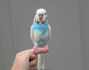 Needle Felted Animal / Handmade Bird Sculpture OOAK/ Lifelike Cute / Life sized / example Parakeet Chirpie/ One of a kind Gift