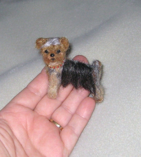 Your dog as a cute Pin / Custom  Needle Felted Portrait / Sculpture Brooch / example Yorkie