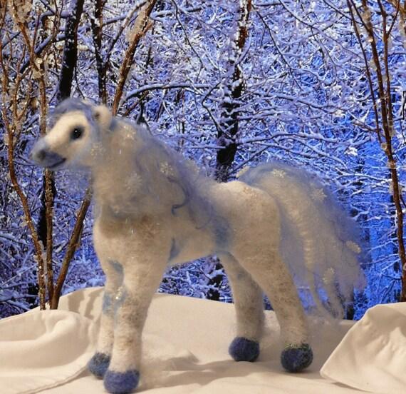 Gourmet Felted Snowy Fairy Fantasy Draft Horse Needle Felted Animal