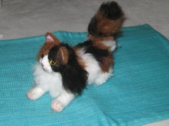 Needle Felted Cat /Custom Miniature Sculpture of your pet Cute