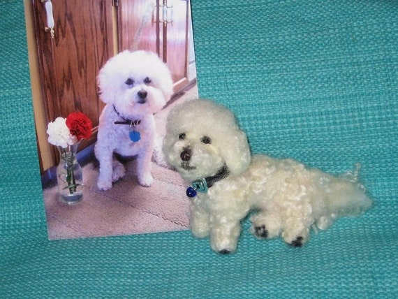 Pet Portrait / Custom Sculpture from  your photos / poseable / example Bichon Frise