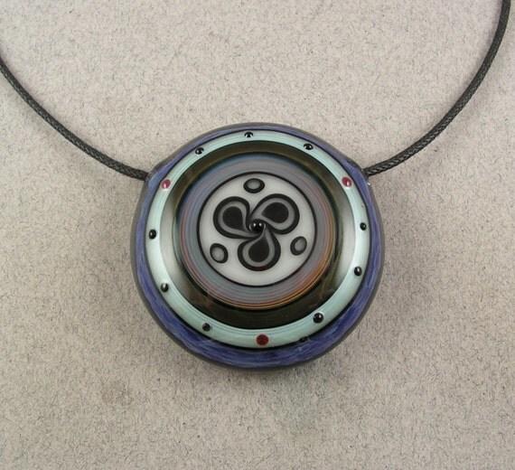 Incalmo Mandala - Hollow lampwork blown boro disc bead by Beau Barrett