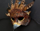 RESERVED for A.W. - Red Gryphon Leather and Feather Mask - Made to Order