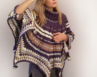 Royal Purple Poncho with Turtle Neck