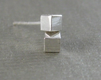 cube sterling silver earrings - stud earrings, modern, edge, simple, everyday - Valentines Day, Mothers Day