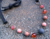 Eco-Friendly T Shirt Yarn Necklace - Fresh Perspective - Soft Yarn from Recycled T Shirts and Vintage Beads in Brown, Tan and Orange