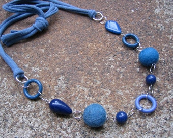 Eco-Friendly T Shirt Yarn Statement Necklace - Out of the Blue - Recycled Vintage & Felted Wool Beads in Various Shades of Blue