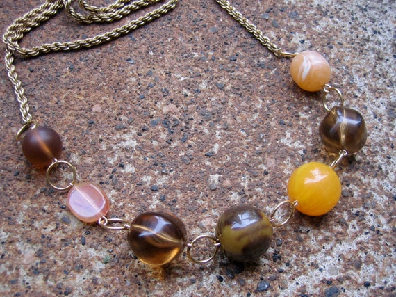 Sirocco Necklace - Recycled Vintage Chain and Beads in Butterscotch, Honey and Chestnut Brown (Eco-Friendly)