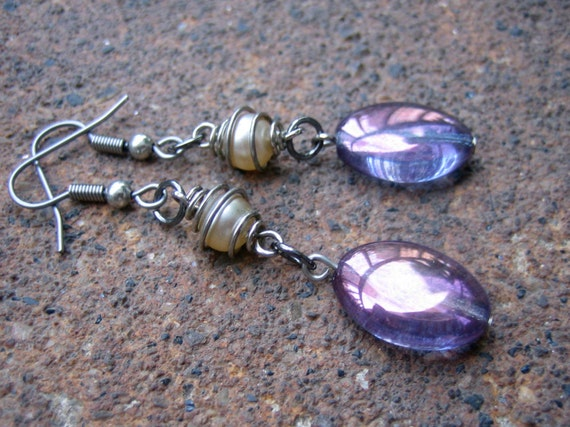 Paperback Romance Dangle Earrings - Recycled Vintage Violet Glass Beads (Eco-Friendly)